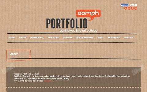 Screenshot of Press Page portfolio-oomph.com - Press - captured May 19, 2017