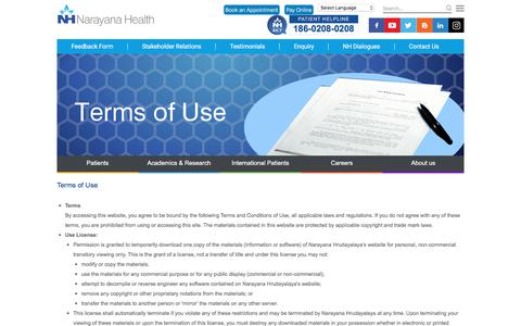 Terms of Use | Narayana Health | Best Hospital in India