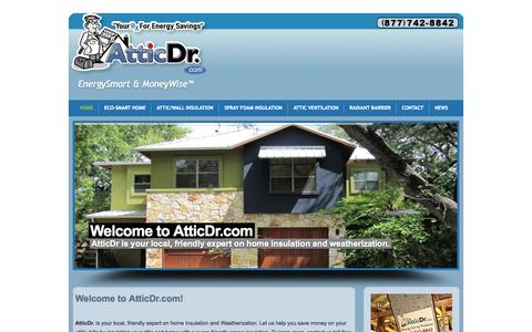 Screenshot of Home Page atticdr.com - attic insulation austin texas tx, energy audits, solar system, rebatesEnergySmart & MoneyWise™ - captured Sept. 30, 2014