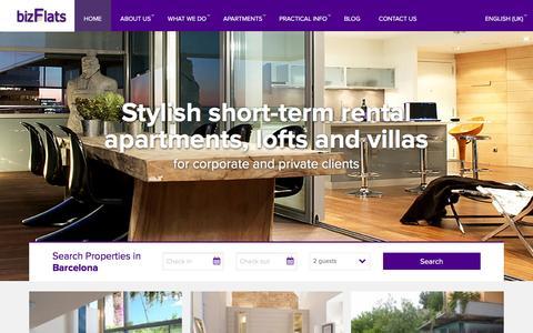 Screenshot of Home Page bizflats.com - Barcelona Vacation Rentals | Short Term & Holiday Rentals Barcelona | bizFlats - captured Jan. 7, 2016