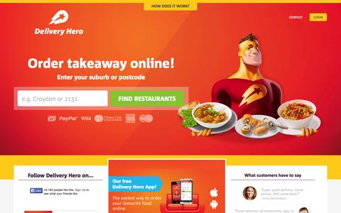 Screenshot of Home Page deliveryhero.com.au - Order Takeaway & Food Delivery Online with Delivery Hero - captured Sept. 25, 2014