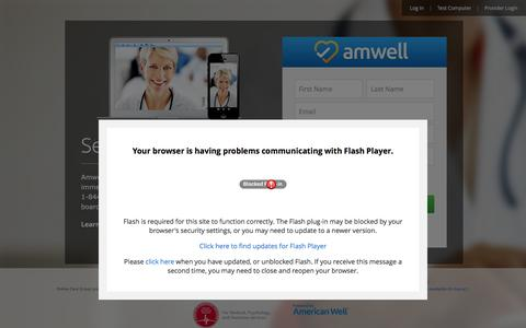 Screenshot of Signup Page amwell.com - Amwell – Consult a Doctor, Therapist or Nutritionist Online - captured June 25, 2016