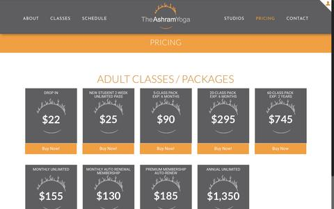Screenshot of Pricing Page theashramyoga.com - Seattle Yin, Yang, and Bikram Hot Yoga Classes | The Ashram Yoga - captured July 13, 2018