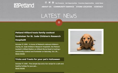 Screenshot of Press Page petland.com - Latest News :: Petland :: Petland Pets Make Life Better! - captured Nov. 5, 2016