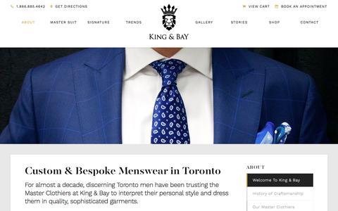 Screenshot of About Page mykingandbay.com - About Custom & Bespoke Menswear | King & Bay Custom Clothing | Toronto, Ontario - captured Oct. 17, 2017