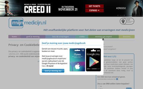 Screenshot of Privacy Page mijnmedicijn.nl - Privacy | Ervaringen met medicijnen vergelijken op effectiviteit, bijwerkingen en gebruiksgemak | mijnmedicijn.nl - captured Nov. 14, 2018