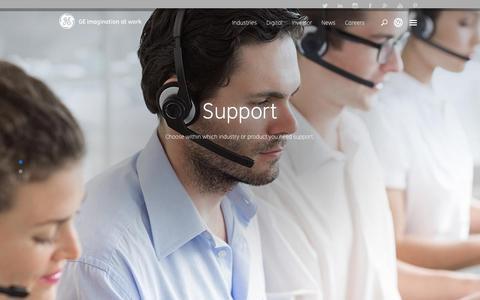 Screenshot of Support Page ge.com - Support | GE Digital - captured Nov. 9, 2015