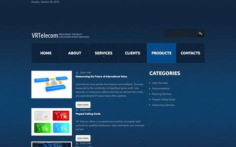 Screenshot of Products Page vrtelecom.es - VR telecom SL - Products - captured Oct. 26, 2014