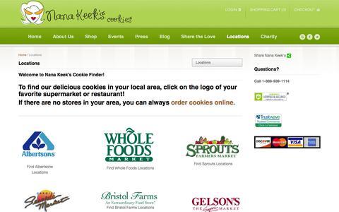 Screenshot of Locations Page nanakeeks.com - Locations - Nana Keek's Gourmet Cookies - captured Oct. 7, 2014