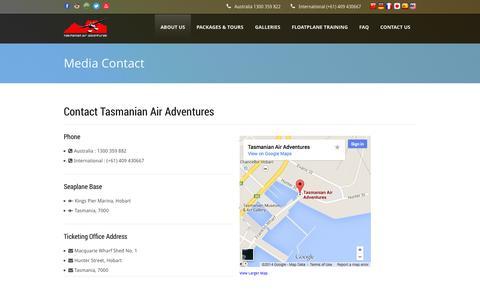 Screenshot of Press Page tasmanianairadventures.com.au - Media Contact - Tasmanian Air Adventures - captured Sept. 30, 2014