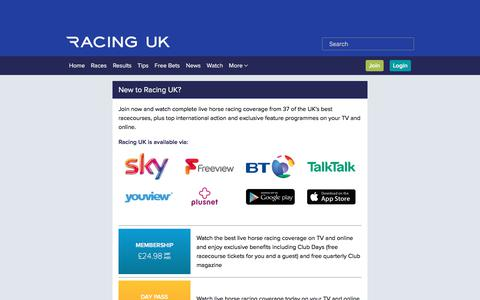 Screenshot of Signup Page racinguk.com - Join Racing UK to watch Live Racing from our 37 Racecourses - captured Aug. 13, 2017