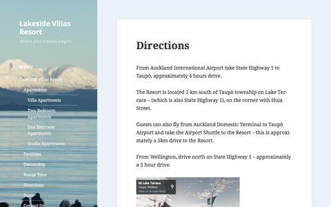 Screenshot of Maps & Directions Page wordpress.com - Directions – Lakeside Villas Resort - captured April 11, 2017