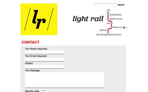 Screenshot of Contact Page lightrailworks.com - light rail » Contact - captured Oct. 2, 2014