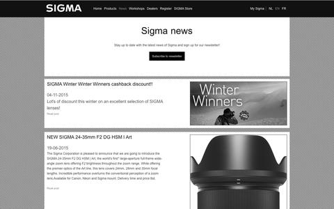 Screenshot of Press Page sigmabenelux.com - Recent | Sigma Benelux - captured Jan. 10, 2016