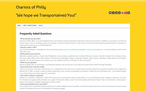 "Screenshot of FAQ Page chariotsofphilly.com - FAQs: Frequently Asked Questions - Chariots of Philly""We hope we Transportained You!"" - captured Sept. 29, 2014"