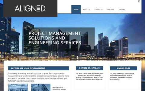 Screenshot of Home Page aligned.com - Aligned - Project Management, Engineering Services, Online Project Management - captured Feb. 6, 2016