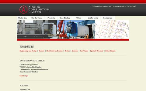 Screenshot of Products Page arctic-combustion.com - Arctic Combustion Limited - Products - captured Feb. 6, 2016