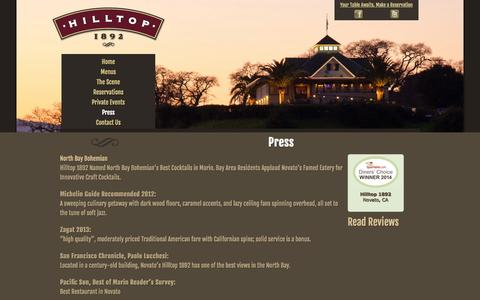 Screenshot of Press Page hilltop1892.com - Fine Dining Reviews - Press Review | Hilltop 1892 Restaurant - captured Oct. 8, 2014