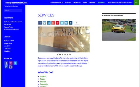 Screenshot of Services Page trsclaims.co.uk - Services | The Replacement Service - captured Nov. 5, 2014