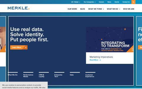 Screenshot of Home Page merkleinc.com - Merkle - Truth in Data. Proof in Performance - captured Feb. 14, 2019