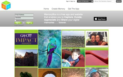 Screenshot of Home Page memorybox.com - MemoryBox - Capture, Curate, Appreciate, Share - captured March 4, 2016