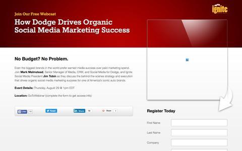 Screenshot of Landing Page ignitesocialmedia.com - How Dodge Drives Organic Social Media Marketing Success - captured May 4, 2016