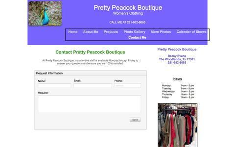Screenshot of Contact Page prettypeacockboutique.com - Contact-Us - captured Jan. 23, 2016