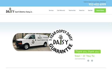 Screenshot of Home Page daisycarpetcleaning.com - Minneapolis Carpet Cleaning - Twin Cities Best Carpet Cleaning Company - Daisy Carpet Cleaning - captured Oct. 11, 2017