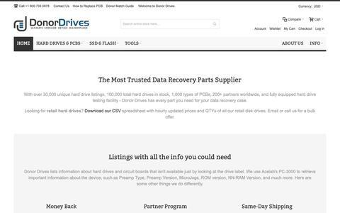 Screenshot of Home Page donordrives.com - Buy Hard Drive PCB and Parts | Hard Drive Refurbishing | Donor Drives LLC - captured Dec. 16, 2018