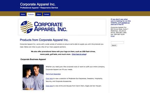Screenshot of Products Page corporateapparel-inc.com - Corporate Apparel Inc.Corporate Apparel and Promotional Items from Corporate Apparel, Inc. in Richmond VA - captured Oct. 2, 2014
