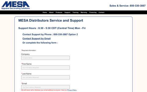 Screenshot of Support Page mesamachines.com - Contact Support at Mesa Distributors - captured Oct. 18, 2017