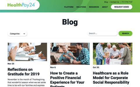 Screenshot of Blog healthpay24.com - Patient Financial Engagement Blog - HealthPay24 - captured Dec. 6, 2019