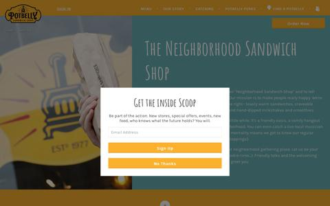 Screenshot of About Page potbelly.com - About Us | Potbelly Sandwich Shop - captured Aug. 11, 2017