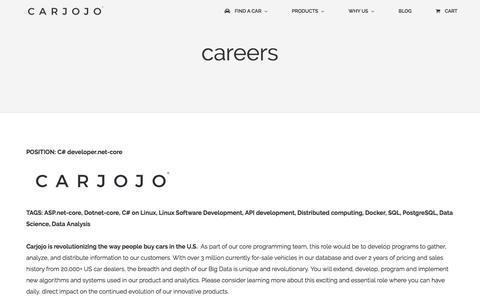 Screenshot of Jobs Page carjojo.com - careers   Carjojo - captured May 14, 2017