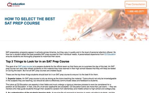 Screenshot of c2educate.com - How to Select the Best SAT Prep Course - captured March 18, 2017