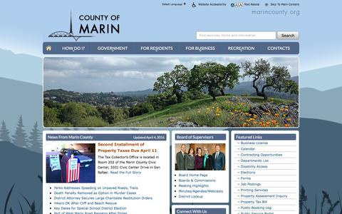 Screenshot of Home Page marincounty.org - Marin County - captured April 11, 2016