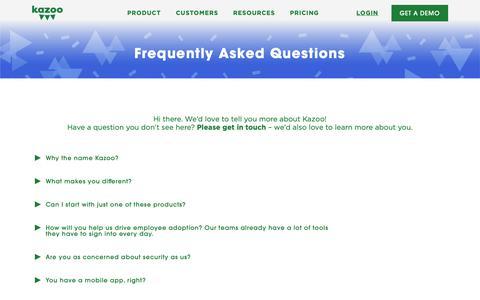Screenshot of FAQ Page kazoohr.com - FAQs | Kazoo.com - Reward & Recognize Your Team - captured April 11, 2019