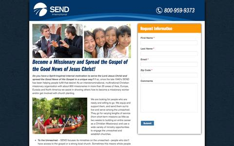 Screenshot of Landing Page send.org - Become a Missionary and Spread the Gospel of the Good News of Jesus Christ! | SEND International - captured Oct. 27, 2014