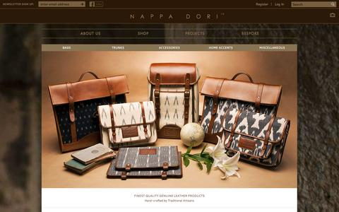 Screenshot of Home Page nappadori.com - Shop | Nappa Dori : Handmade Leather Products Online, Buy Bags - captured Sept. 19, 2014