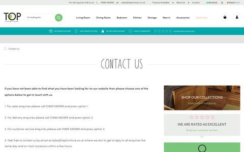 Screenshot of Contact Page topfurniture.co.uk - Top Furniture | Contact Us - captured Oct. 18, 2018