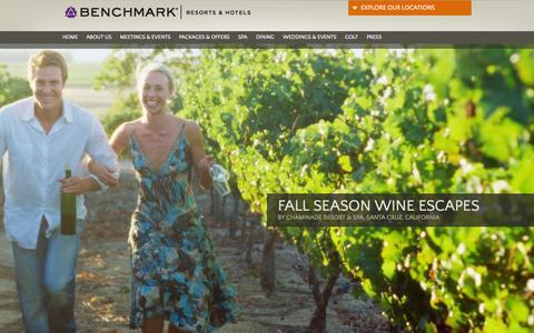 Screenshot of Home Page benchmarkresortsandhotels.com - Luxury Hotels & Resorts | Benchmark Resorts & Hotels - captured Sept. 23, 2014