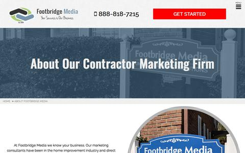 Screenshot of About Page footbridgemedia.com - About Our Contractor Marketing Firm | Footbridge Media - captured May 23, 2018