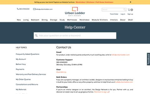 Screenshot of Contact Page urbanladder.com - Furniture Online: Home Wooden Furniture Sale @ 40% Off - Urban Ladder - captured May 9, 2017