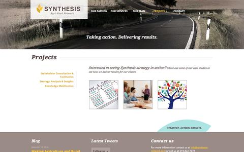 Screenshot of Case Studies Page synthesis-network.com - Projects | Synthesis Agri-Food Network - captured Dec. 2, 2016