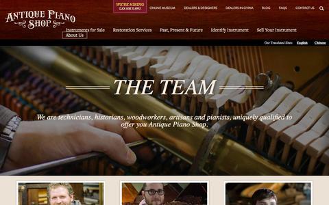 Screenshot of Team Page antiquepianoshop.com - The Team | Antique Piano - captured Dec. 25, 2015