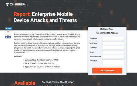 Screenshot of Landing Page zimperium.com - Enterprise Mobile Device Vulnerabilities and Attacks - captured March 5, 2018