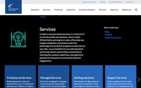 Screenshot of Services Page eplus.com - Services - captured Feb. 22, 2020