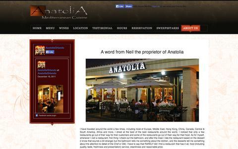 Screenshot of About Page anatoliaorlando.com - Anatolia Mediterranean Seafood & Grill, Best Turkish Restaurant in Orlando - captured Oct. 27, 2014