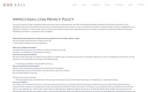 Screenshot of Privacy Page cueball.com - Cue Ball   –  Privacy Policy - captured Sept. 29, 2018