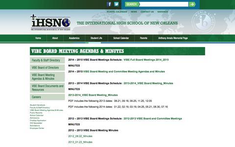 Screenshot of FAQ Page ihsnola.org - VIBE Board Meeting Agendas & Minutes - The International High School of New Orleans - captured Oct. 26, 2014